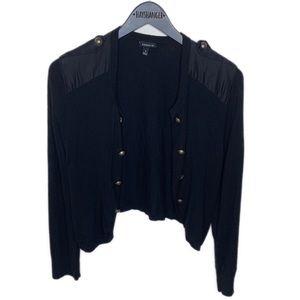 Torrid Black Moto shoulder pad gold button sweater